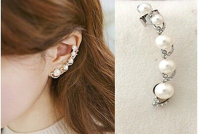 1PC Wmen New Fashion White Crystal Pearl Silver spiral Ear Clip on Stud Earring