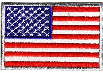 LOT OF 5 - AMERICAN FLAG SILVER BORDER BIKER PATCH