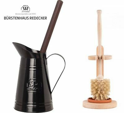 Redecker Toilet Brush Holders Stand with Brush, Metal Jug or Beechwood