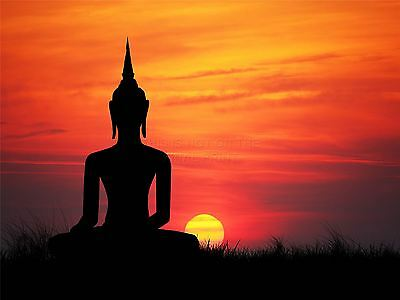 Art Print Poster Painting Drawing Buddha Silhouette Sunset Sky Lfmp0399