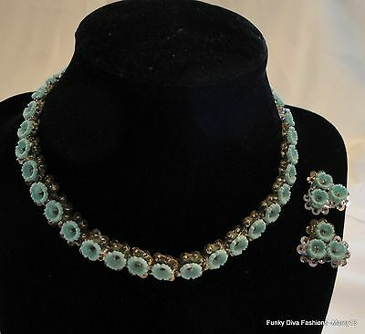 Cute Vintage Possibly Hand Crafted Plastic Blue Flower Necklace w Earrings Set