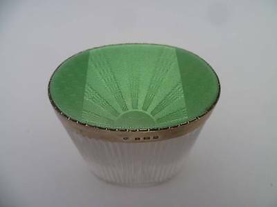 RARE APPLE GREEN GUILLOCHE ENAMEL SOLID SILVER VANITY OVAL JAR POT HALLMARK 1937