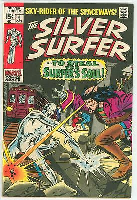 Silver Surfer 9 6.5 Glossy Cover Nice Oww Pages 1969 Fe