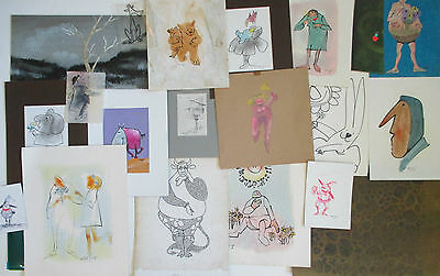 WILLIS GOLDSMITH VINTAGE FIGURES LANDSCAPE ANIMAL WHIMSICAL DRAWING PAINTING LOT