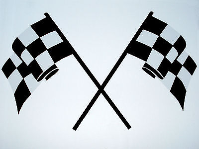 Set of 2- BLACK Racing CROSS CHECKERED FLAG Vinyl Sticker Emblem Decal 11.5x18.5
