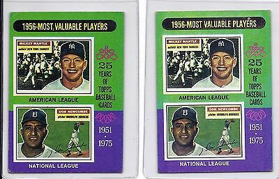 MICKEY MANTLE NEWCOMBE 1975 TOPPS 1956 MOST VALUABLE PLAYERS Card #194 LOT OF 2