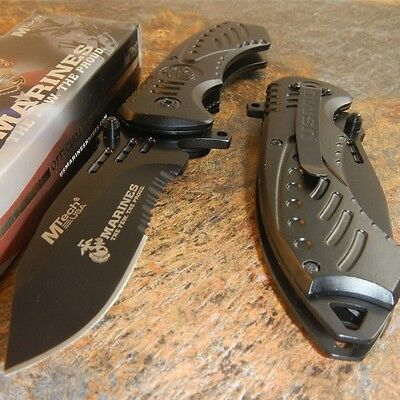 USMC Marines Spring Assisted Open Tactical Black Folding Rescue Pocket Knife NEW