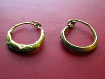 Lovely Ancient Roman Gold Tapered Hoop Earrings...Perfect Pair 200 AD