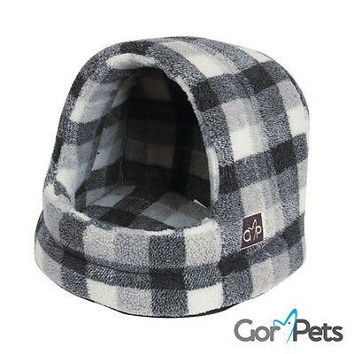 Highland Hooded Cat Bed Sherpa Fabric extra support dog washable • EUR 26,89