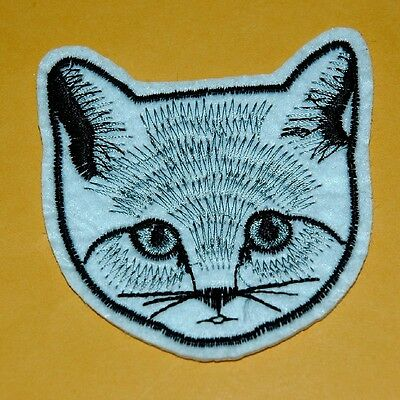 Cat Face EmbroideredCrest Badge Iron Sew On Patch Biker Applique Cute Baby Rock