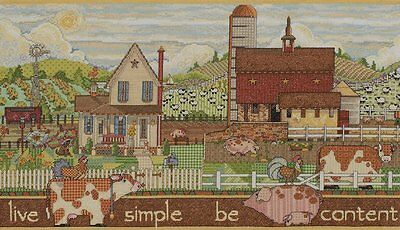 Bucilla Sentiments Live Simple, Be Content Counted Cross Stitch Kit, New