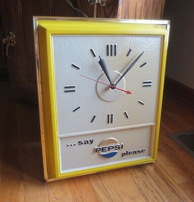 Vintage Advertising Pepsi-Cola Sign Wall Clock Meritt Products -Say Pepsi Please