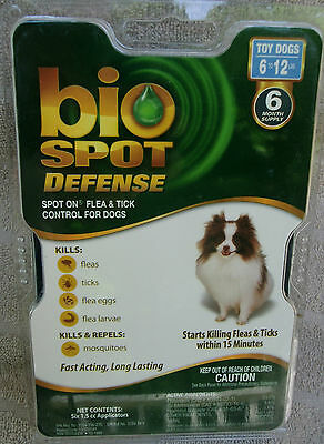 Bio Spot Defense Flea & Tick Spot On for Toy Dogs 6-12 lbs ~ 6 month. supply