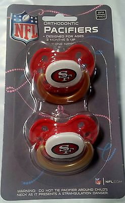 San Francisco 49ers Baby Infant Pacifiers NFL NEW - 2 Pack   GREAT SHOWER GIFT!