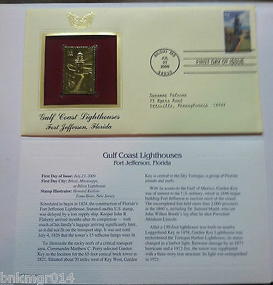 2009 Gulf Coast Lighthouse Fort Jefferson First Day Issue Golden Replica Stamps