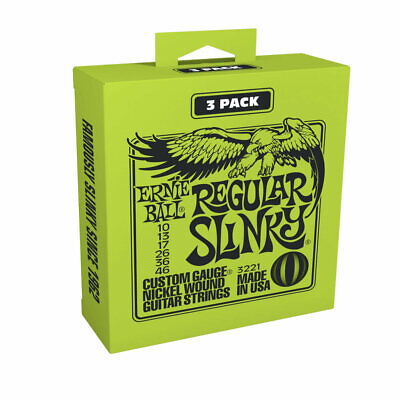 Ernie Ball 3221 3 pack of Electric Guitar Strings Regular Slinky 10-46 - New