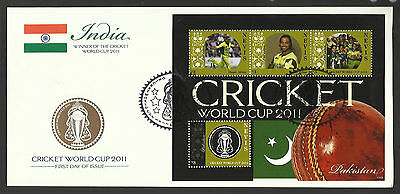 NEVIS 2011 ICC CRICKET WORLD CUP PAKISTAN TEAM SHOAIB AKHTAR 4v Sheet FDC