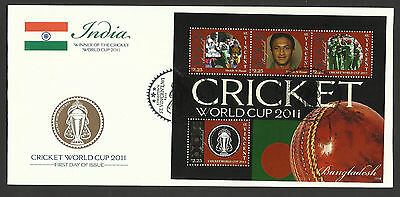 ST VINCENT 2011 ICC CRICKET WORLD CUP BANGLADESH TEAM AL HASAN 4v Sheet FDC