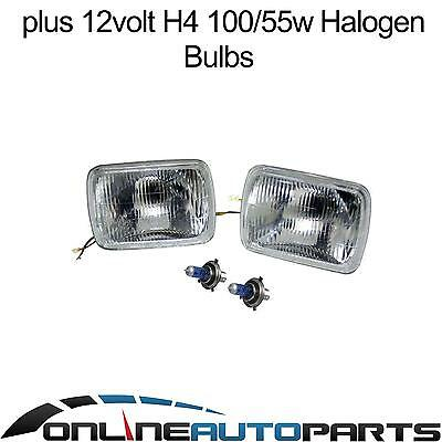 H4 Headlight Upgrade Kit Toyota Hilux Ute 83-05 2 Lamps Rectangle Hi Watt Globes