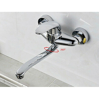 Polished Chrome Single Handle Wall Mount Bathroom Faucet Kitchen Sink Mixer Tap