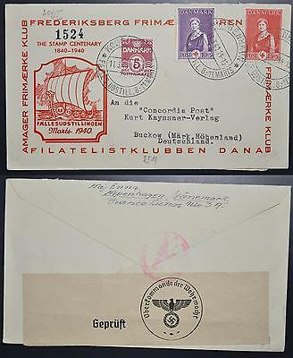 DENMARK to Nazi GERMANY 1940 Red CROSS on Censored Stamp EXPO Cover to , Denmark