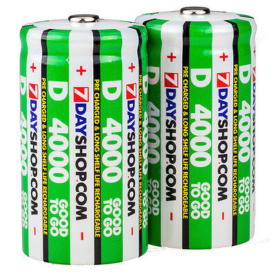 2 PK 7dayshop GOOD TO GO D Cell Pre-Charged NiMH Rechargeable Batteries 4000mAh