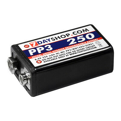 1x 7dayshop PP3 9V Cell NiMH Rechargeable Battery High Performance 250mAh