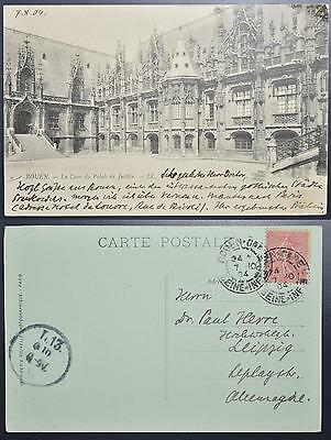 FRANCE 1904 nice ROUEN Palace of Justice PPC to GERMANY , Francia, Frankreich