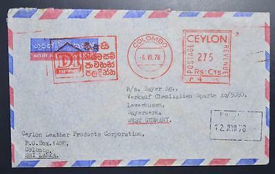 CEYLON 1978 Meter Franked Airmail Cover COLOMBO to GERMANY , Sri Lanka, England