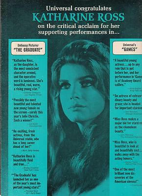 Katharine Ross 1968 Ad- The Graduate and Games success