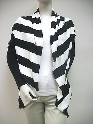 VINTAGEOUS Black White Wide Stripe Open Draped Cardigan Sweater Sz M New NWT