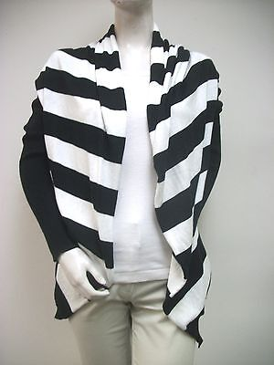 VINTAGEOUS Black White Wide Stripe Open Draped Cardigan Sweater Sz XS New NWT