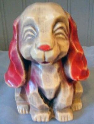 1970s Vintage Puppy Figural Piggy Bank - Made In Tawain - FREE SHIPPING!