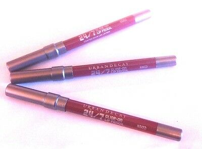 Urban Decay 24/7 Glide-On Lip Pencil NAKED Lot 3 pc New No Box 100% Authentic
