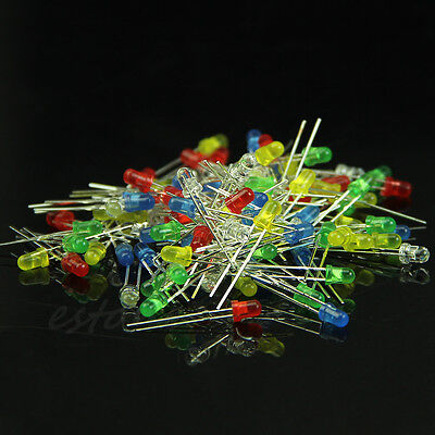 Hot 100pcs 3mm Emitting Diode Diffused Assorted Superbright LED 5 Color New