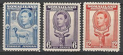 British Somaliland Protectorate 1938 Kgvi Animal 3A  6A 12A