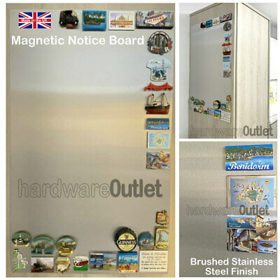 Brushed Stainless Steel Magnetic NOTICE BOARD - 8 Sizes available Made in the UK