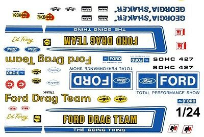 Official FORD Drag Team 1/25th - 1/24th Scale Waterslide Decals