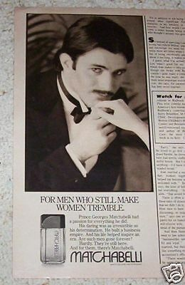 1982 vintage ad - Prince Matchabelli mens cologne - sexy guy mustache ADVERT
