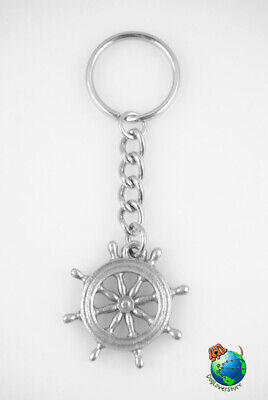 Captains Wheel Keychain Pewter