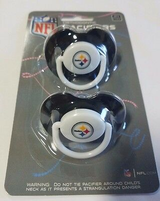 Pittsburgh Steelers Baby Infant Pacifiers NFL NEW - 2 Pack   GREAT SHOWER GIFT!