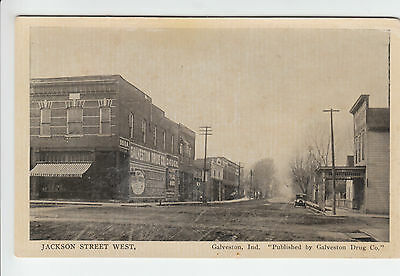 Jackson Street Galveston Indiana Cass County IN Old Postcard Vintage Drug Co.