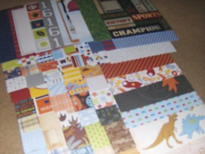 Huge Lot of  60 8 1/2 by 11 DCWV - ALL BOY-  Scrapbook paper Just Released (52