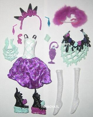 Monster High Sweet Screams Abbey Bominable Doll Outfit Clothes Dress & Shoes NEW