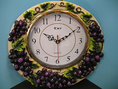 3D GRAPE wall clock.Home Decor Kitchen vineyard wine Bar Set fruit new.