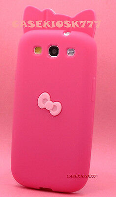 FOR SAMSUNG i9300 GALAXY S3 siii HOT PINK HELLO KITTY W/ 3D  BOW CASE SILICONE /