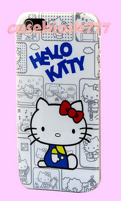 for iphone 5 5s hello kitty white red blue hard back case with bow and film cute
