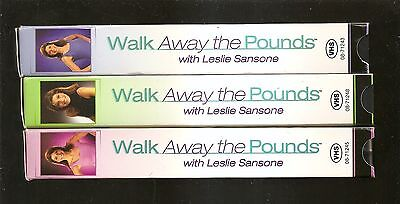 Lot/Set 3 VHS workout tapes - WALK AWAY THE POUNDS with LESLIE SANSONE