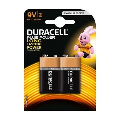 Duracell PLUS POWER 9V (6LR61 / MN1604 / PP3) Alkaline Batteries - Pack of 2