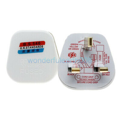 UK Ireland Singapore AC250V 13A Fused DIY Rewireable Main Power Plug White